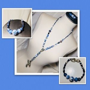 Handmade Necklace and Bracelet Set Cross